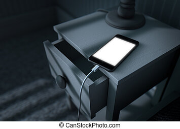 Illuminated Cellphone Next To Bed - A 3D render of a bed...
