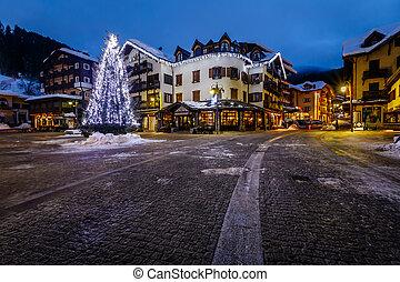 Illuminated Central Square of Madonna di Campiglio in the Morning, Italian Alps, Italy