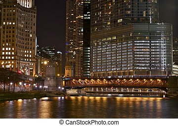 Illuminated Chicago at Night. City Life Chicago. Night...