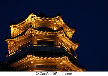 Illuminated Chinese pagoda by night, Beijing China
