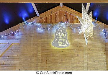Illuminated Christmas decoration at the Christmas Market in Vilnius