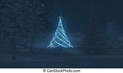Illuminated Christmas tree - Luminous Christmas Tree in the...