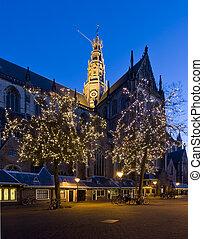 Illuminated church - The famous st Bavo Church in Haarlem,...