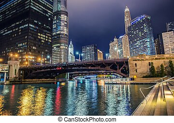 Illuminated City of Chicago