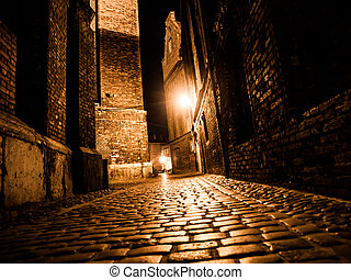 Illuminated cobbled street in old city by night