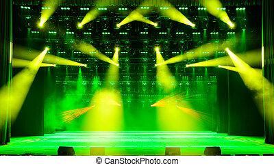 Illuminated concert stage - Illuminated empty concert stage...