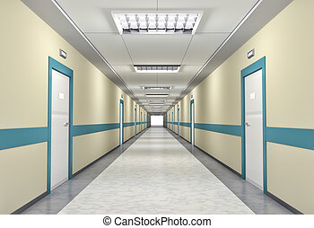 Illuminated corridor in the hospital - 3d illustration