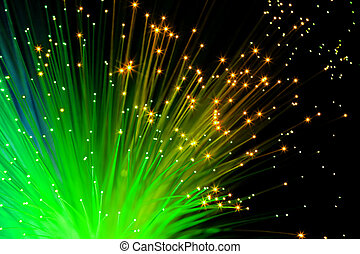 green optic fibers - illuminated decorative green optic...