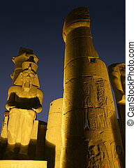 illuminated detail of the Luxor Temple
