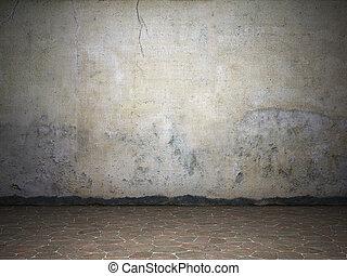 Illuminated dirty wall