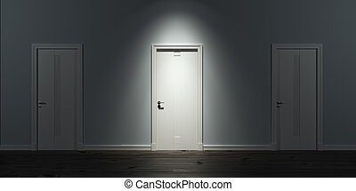 Illuminated door in row. Blue walls. 3d render