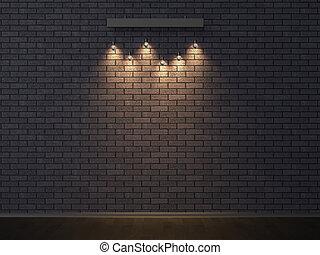 Illuminated empty dark brick wall. 3D illustrating.