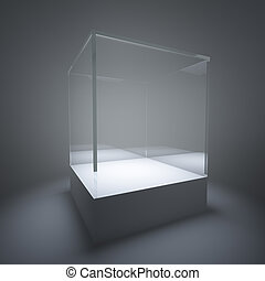 Illuminated empty glass showcase in room