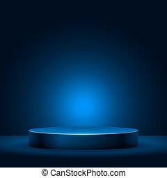 Illuminated empty pedestal in the dark vector template.
