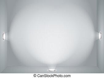 Illuminated empty wall
