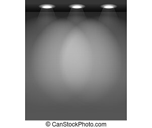 Illuminated empty wall template. Ready for your content