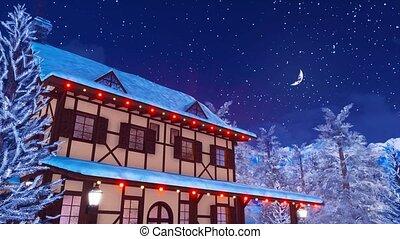Illuminated european rural house at winter night 4K - Cozy...