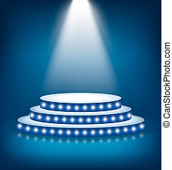 Illuminated Festive Stage Podium with Lamps on Blue...