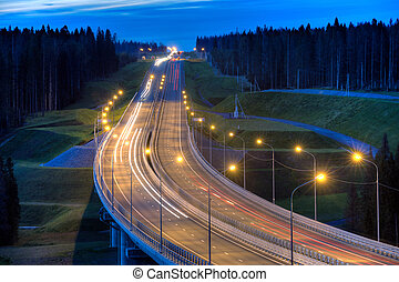 Illuminated forest highway bridge at evening with light trails.