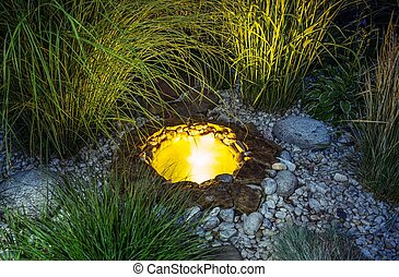 Illuminated Garden Pond - Illuminated at Night Small Garden...