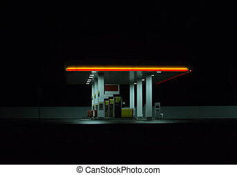 Illuminated gas station at night.