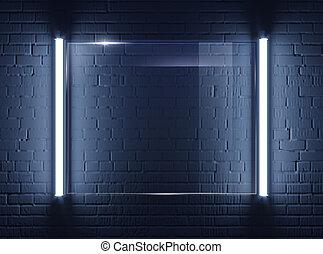 Illuminated glass plate on brick wall