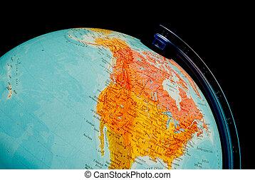 Illuminated globe close up