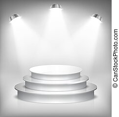 Illuminated Glossy Stage Podium to Place Product Template on White Background