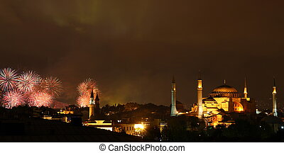 Illuminated Hagia Sophia and fireworks (national holiday) in...