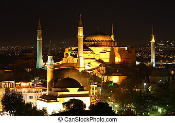 Illuminated Hagia Sophia in Istanbul at night
