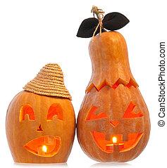 Illuminated Halloween pumpkins