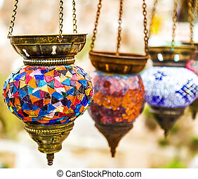 illuminated Hanging colorful arabic lamps - Hanging colorful...