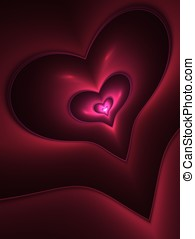 Illuminated Heart Abstract - Layered, deep red heart design...
