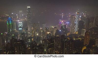 illuminated hong kong skyline at night view from