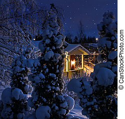 Illuminated house on snowy Christmas evening - Illuminated...