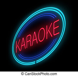 Illuminated karaoke sign. - Illustration depicting an...