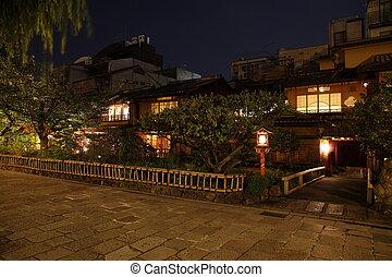 Illuminated Kyoto City historic district at night