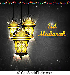 Illuminated lamp on Eid Mubarak background - illustration of...