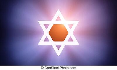 Illuminated Magen David - Radiant light from the symbol of...