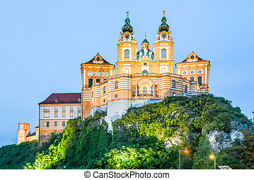 Illuminated Melk Abbey, German: Stift Melk, in the town of Melk by night, Wachau Valley, Austria