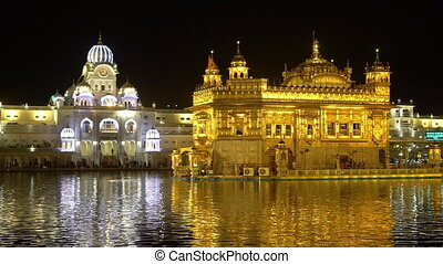 Illuminated minarets, Golden Temple, Amritsar - Extreme...