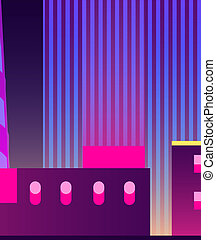 Illuminated modern city night landscape vector