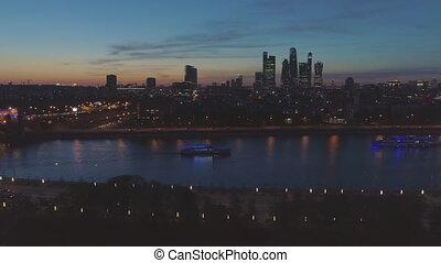 illuminated moscow international city business