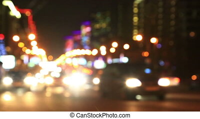 Illuminated New Arbat Avenue in night, Moscow - Defocused...