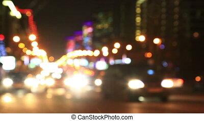 Illuminated New Arbat Avenue in night, Moscow - Defocused...