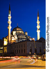 Illuminated New Mosque at Blue Hour with Blurred Car Lights, Istanbul