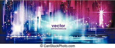 Illuminated Night city background