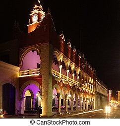 Illuminated night scenery of Merida in Yucatan, Mexico