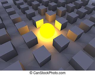Illuminated One - 3D Illustration. The illuminated One.