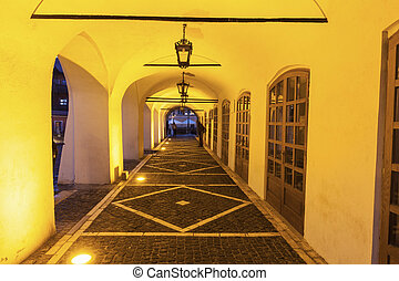 Illuminated passage in the Old Town of Sibiu